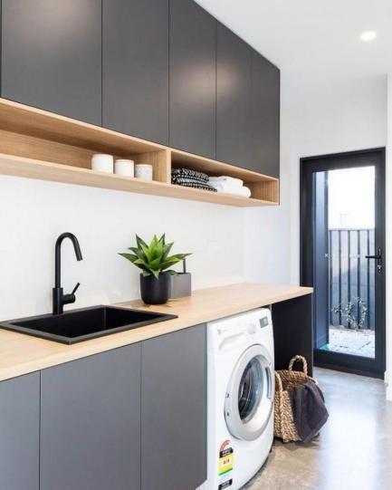 desain istimewa mesin cuci di ruang dapur