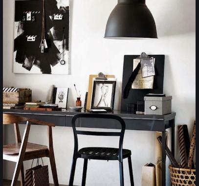 lampu gantung pada ruang kerja minimalis