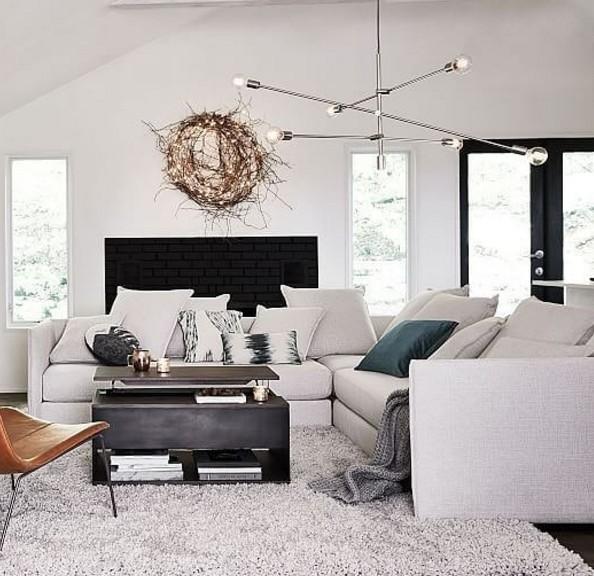 desain ruang tamu modern dengan lampu
