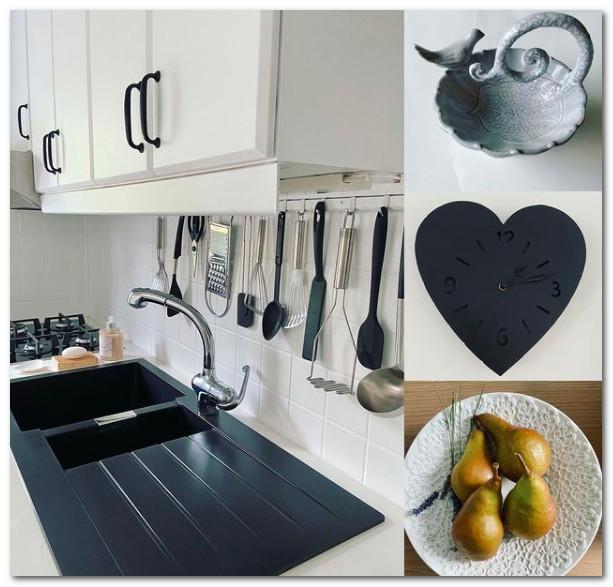 cantiknya desain dapur hitam putih